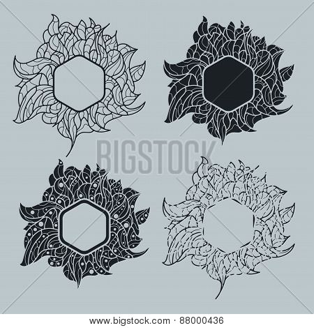 hexagon with a floral pattern