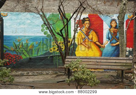 Mural art at East Harlem in New York
