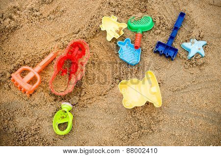 Close up of Children's beach toys