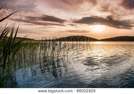 Fantastic Sunset On The Lake