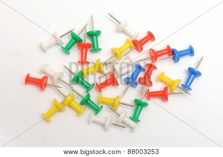 Group of colour push pins