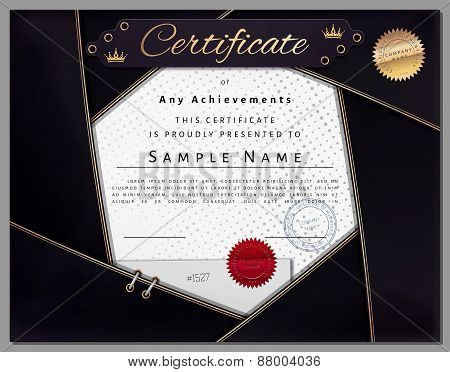 Vintage Certificate Template With Dark Blue Border And Golden Elements On Dotted Paper In Vector