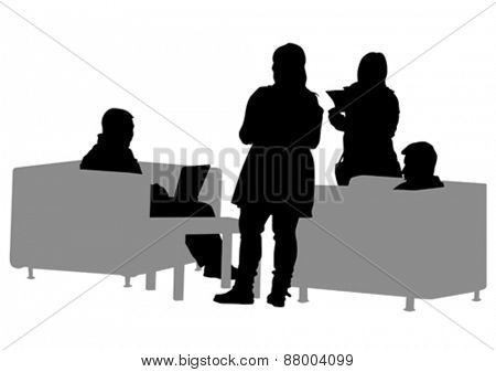 Businessman in suit at table on white background