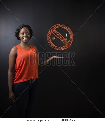 No Smoking Tobacco South African Or African American Woman On Blackboard Background