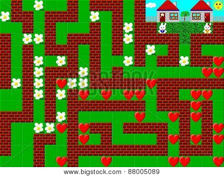 Maze, Retro Style Game Pixelated Graphics