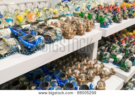 Istanbul, Turkey - March 20, 2015. The Traditional Oriental Gifts Gifts In Souvenir Shop
