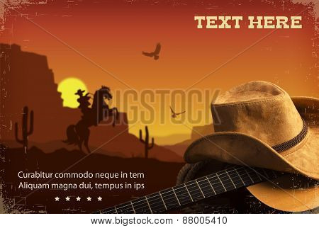 American Country Music.western Background With Guitar And Cowboy Hat