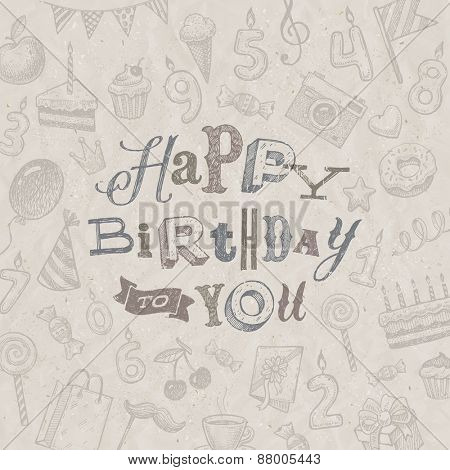 Hand drawn Happy Birthday greeting card - vector illustration
