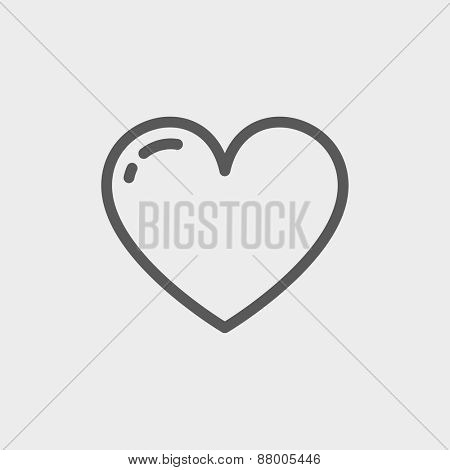 Heart icon thin line for web and mobile, modern minimalistic flat design. Vector dark grey icon on light grey background.