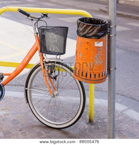 Trash Metal Orange Waste And Bicycle