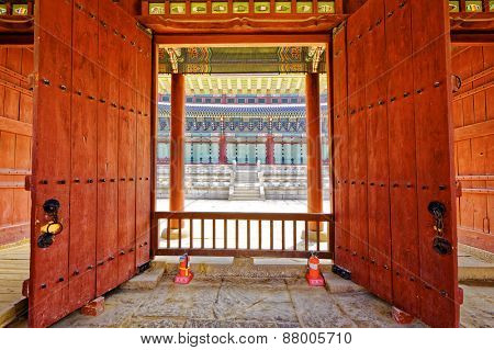 Korean old buildings. Anapji gate door in Gyeongju, South Korea