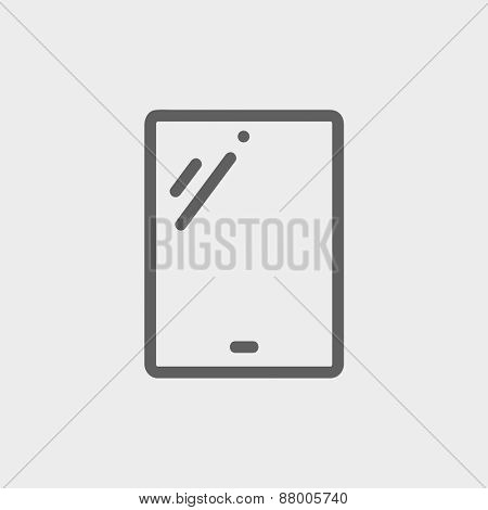 Touch screen tablet icon thin line for web and mobile, modern minimalistic flat design. Vector dark grey icon on light grey background.