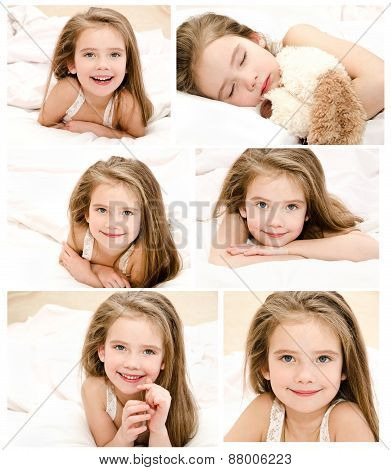 Collection Of Photos Smiling Little Girl Waked Up In Her Bed