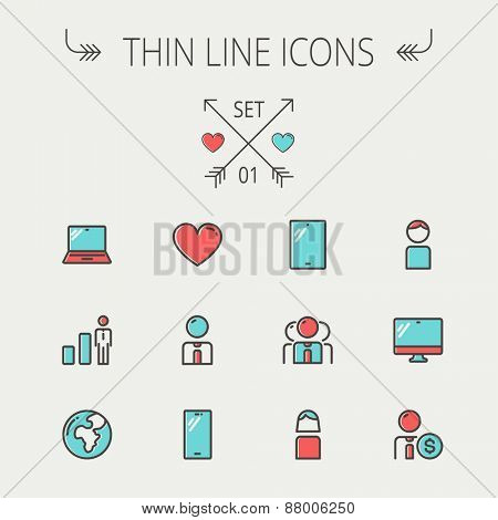 Technology thin line icon set for web and mobile. Set includes - laptop, tablet, computer, globe, man, woman, heart, statistics icons. Modern minimalistic flat design. Vector icons with dark grey