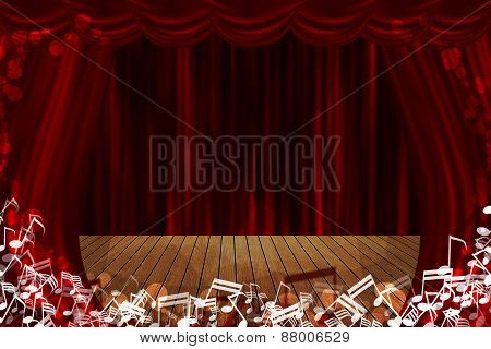 Red Curtain Stage Background With Glow Note Sign