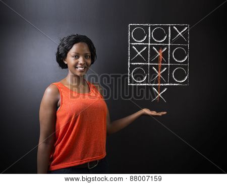 Thinking Out Of The Box Woman On Blackboard Background