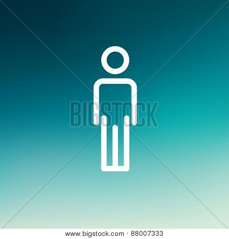 Man standing icon thin line for web and mobile, modern minimalistic flat design. Vector white icon on gradient  mesh background.