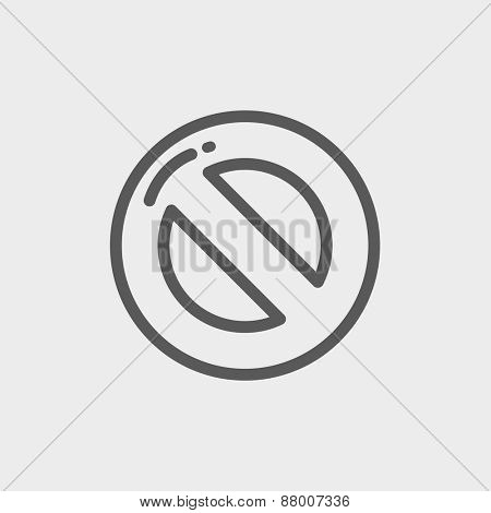 Not allowed icon thin line for web and mobile, modern minimalistic flat design. Vector dark grey icon on light grey background.
