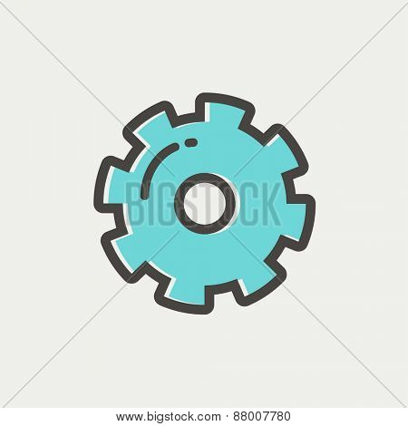 Gear icon thin line for web and mobile, modern minimalistic flat design. Vector icon with dark grey outline and offset colour on light grey background.