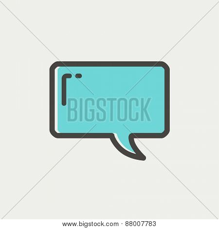 Speech bubble icon thin line for web and mobile, modern minimalistic flat design. Vector icon with dark grey outline and offset colour on light grey background.