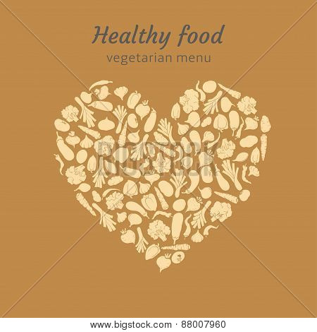 Healthy heart of silhouette of veggies. vector illustration for vegetarian menu