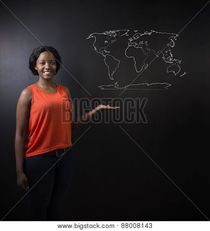 South African Or African American Woman Teacher Or Student With World Geography Map Chalk On Backgro