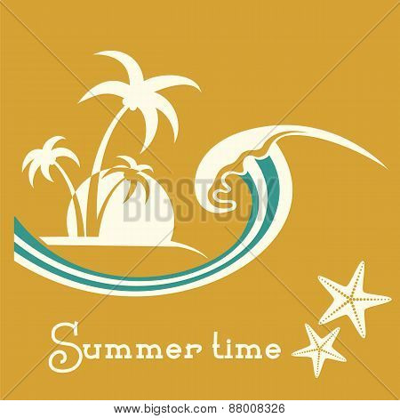 Summer Time Illustration With Sea Wave And Tropical Palm Trees