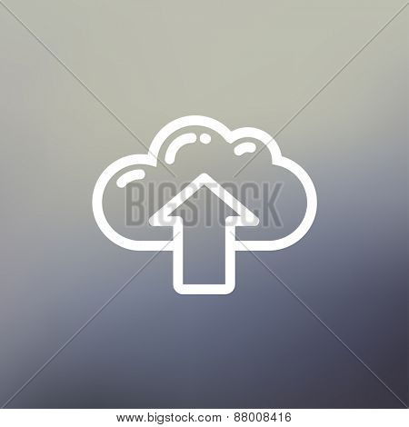 Cloud with arrow up icon thin line for web and mobile, modern minimalistic flat design. Vector white icon on gradient  mesh background.
