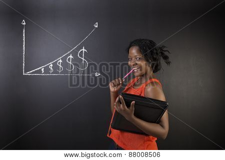 South African Or African American Woman Teacher Or Student Against Blackboard Background Money Graph