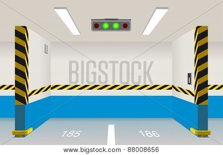 Empty Parking Lot Area. Vector Illustration