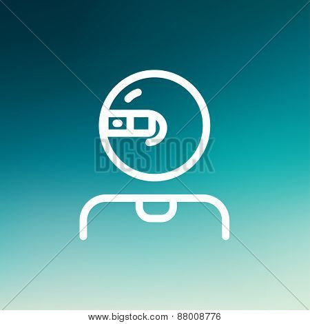 Computer web camera icon thin line for web and mobile, modern minimalistic flat design. Vector white icon on gradient  mesh background.