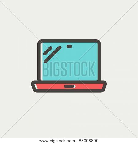 Laptop icon thin line for web and mobile, modern minimalistic flat design. Vector icon with dark grey outline and offset colour on light grey background.