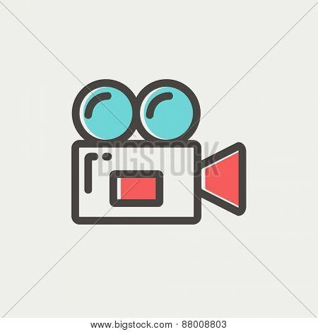 Video camera icon thin line for web and mobile, modern minimalistic flat design. Vector icon with dark grey outline and offset colour on light grey background.