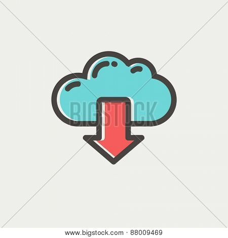 Cloud with arrow down icon thin line for web and mobile, modern minimalistic flat design. Vector icon with dark grey outline and offset colour on light grey background.