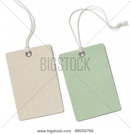 Two blank cloth tag or price label set isolated on white