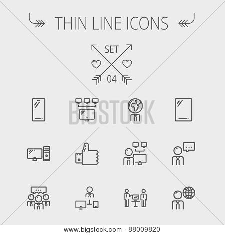 Technology thin line icon set for web and mobile. Set includes - Mobile phone, gadget, computer, CPU, global. Modern minimalistic flat design. Vector dark grey icon on light grey background.