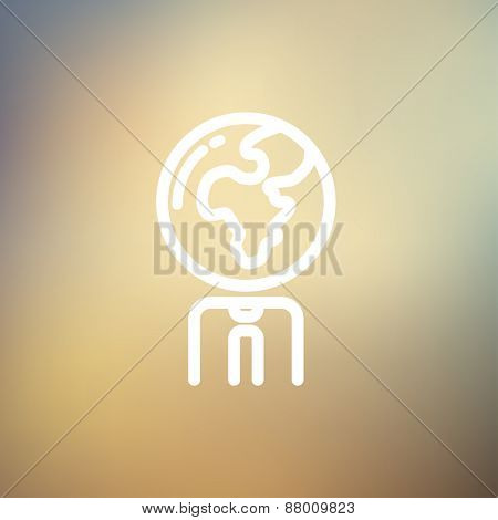 Human with globe head icon thin line for web and mobile, modern minimalistic flat design. Vector white icon on gradient mesh background.