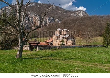 Panorama of medieval Poganovo Monastery of St. John the Theologian