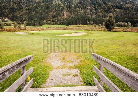 Wooden Bridge In Golf Course