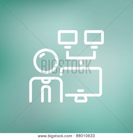 Man and screen with cameras icon thin line for web and mobile, modern minimalistic flat design. Vector white icon on gradient mesh background.