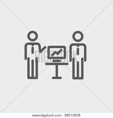 Two men and their business report icon thin line for web and mobile, modern minimalistic flat design. Vector dark grey icon on light grey background.