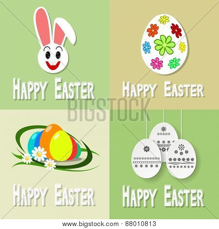 Happy Easter Cards Illustration With Easter Eggs And Easter Bunny