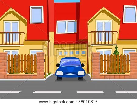 Car Near The Garage Of New Two Storey House. Vector
