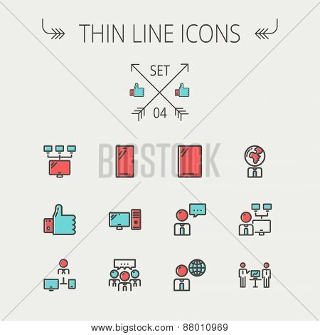 Technology thin line icon set for web and mobile. Set includes - Mobile phone, gadget, computer, CPU, global. Modern minimalistic flat design. Vector icon with dark grey outline and offset colour on