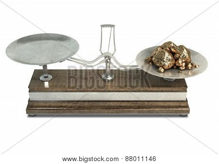 Two Pan Balance Scale And Gold