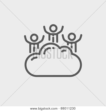 Three men on a cloud icon thin line for web and mobile, modern minimalistic flat design. Vector dark grey icon on light grey background.