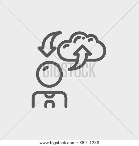 Man with cloud upload and download arrows icon thin line for web and mobile, modern minimalistic flat design. Vector dark grey icon on light grey background.
