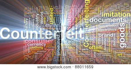 Background concept wordcloud of counterfeit goods glowing light