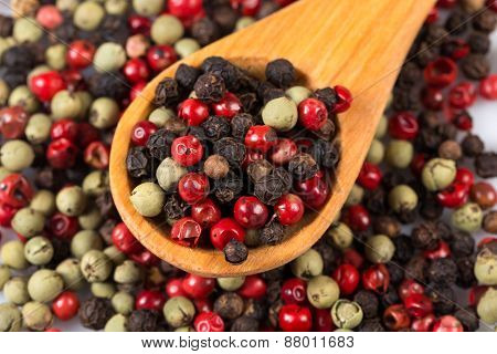 Pepper Seasoning Mix In Wooden Spoon