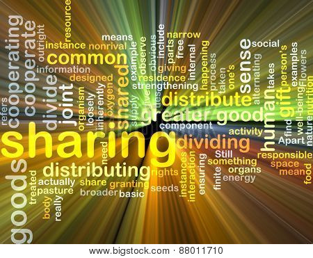 Background text pattern concept wordcloud illustration of sharing glowing light